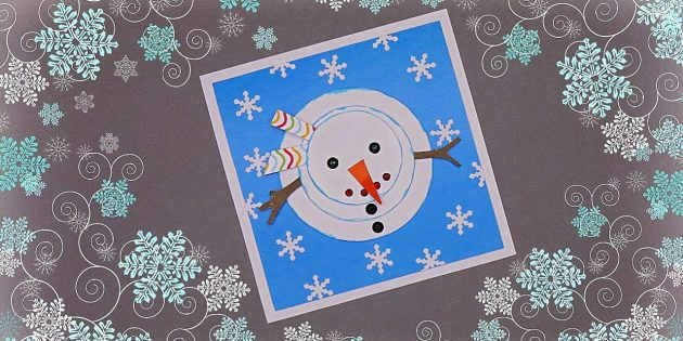 как сделать новогоднюю открытку со снеговиком
