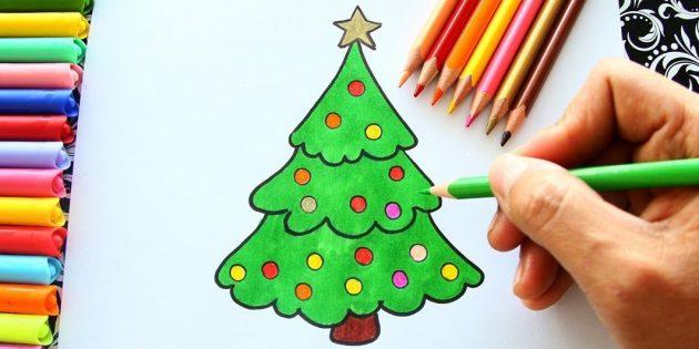 Как нарисовать пушистую ёлку карандашом или фломастером