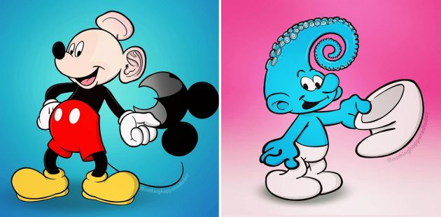 13 иллюстраций с популярными персонажами, которые разрушат ваше детство