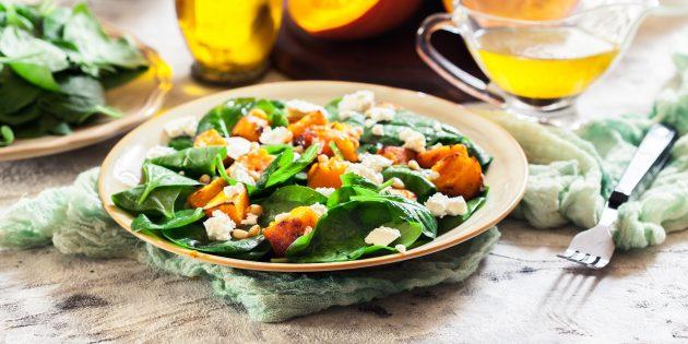 Простые рецепты салатов: салат из запечённой тыквы со шпинатом, сыром и орехами