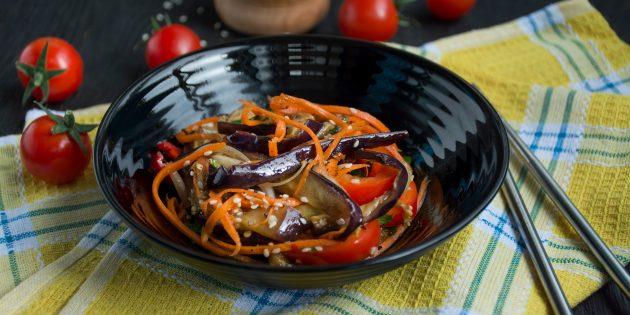 Простые рецепты салатов: салат из баклажанов по-корейски