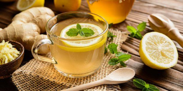 Имбирный чай с лимоном и мятой: простые рецепты