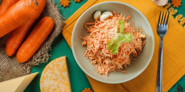 Простые рецепты салатов: салат из моркови, сыра и чеснока