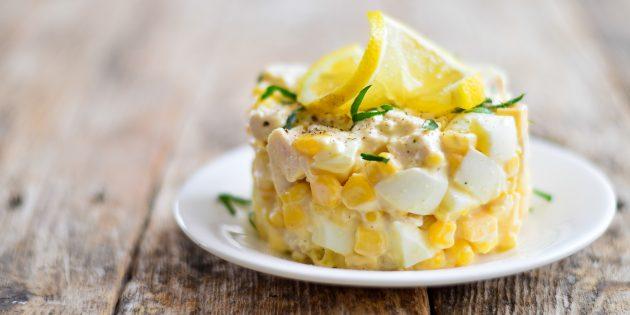 Салат с кукурузой, курицей и сыром: простой рецепт