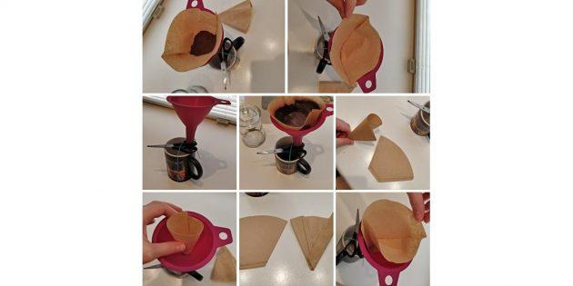 заваривание молотого кофе в кружке