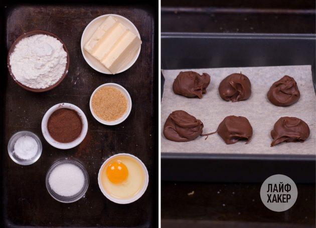 Подготовьте ингредиенты для печенья с шоколадной начинкой а-ля фондан: