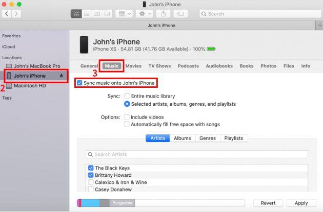 Как скачать музыку на iPhone: включите опцию «Синхронизировать музыку на [имя устройства]»
