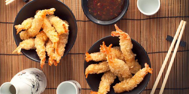 Темпура с креветками и другими морепродуктами