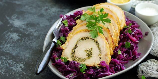 простой рецепт мясного рулета с сыром и оливками