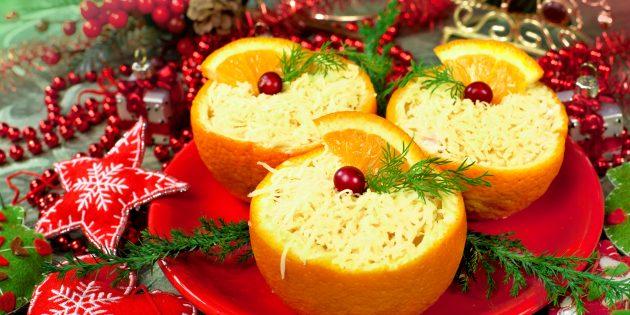 Сырный салат с крабовыми палочками в апельсине: рецепты новогодних салатов
