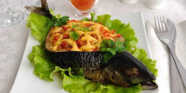 Рецепты скумбрии в духовке: скумбрия с овощами, грибами и сыром