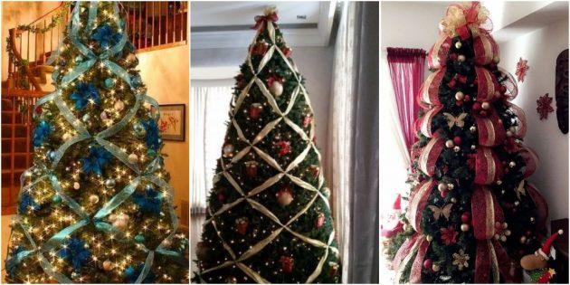 украсьте новогоднюю ёлку лентами
