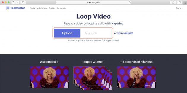 как зациклить видео: Kapwing