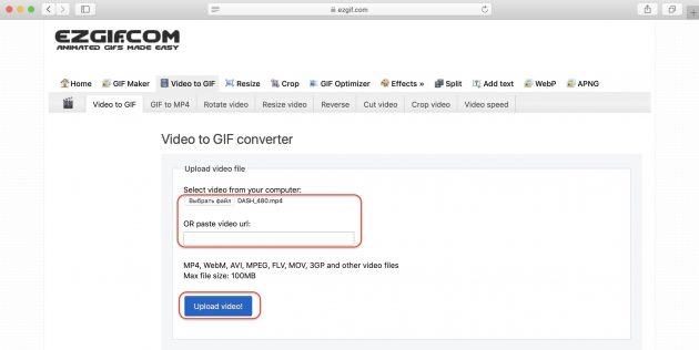 зациклить видео онлайн: нажмите Convert to GIF!