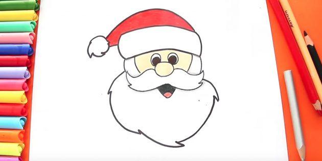 Как нарисовать голову Деда Мороза