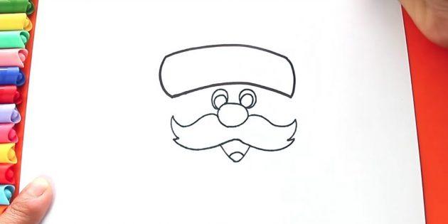 как нарисовать санта клауса: нарисуйте край шапки