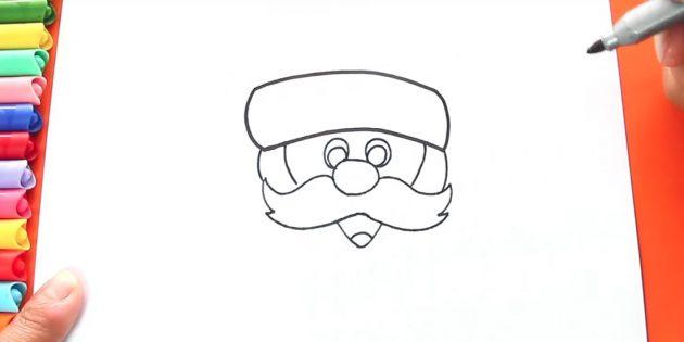 как нарисовать санта клауса: подрисуйте волосы