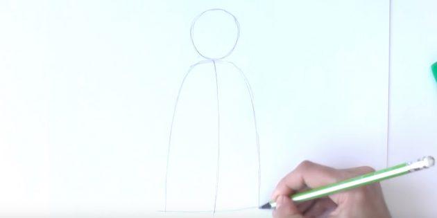 как нарисовать деда мороза поэтапно: сделайте набросок головы и шубы