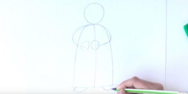 как нарисовать деда мороза поэтапно: добавьте набросок рук и валенок