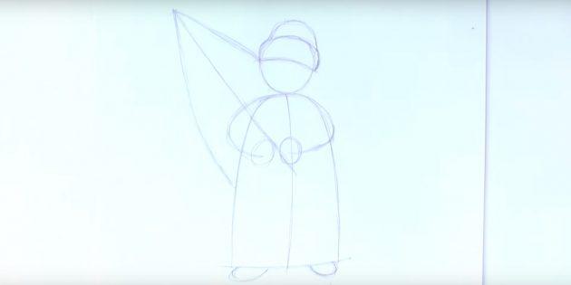 как нарисовать деда мороза поэтапно: нарисуйте очертания ёлки и шапки