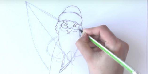 как нарисовать деда мороза поэтапно: прорисуйте лицо и волосы