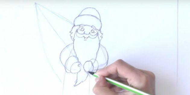 как нарисовать деда мороза поэтапно: прорисуйте бороду и руки