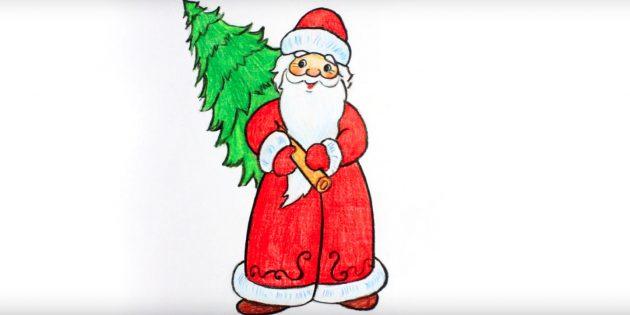 Как нарисовать Деда Мороза с ёлкой