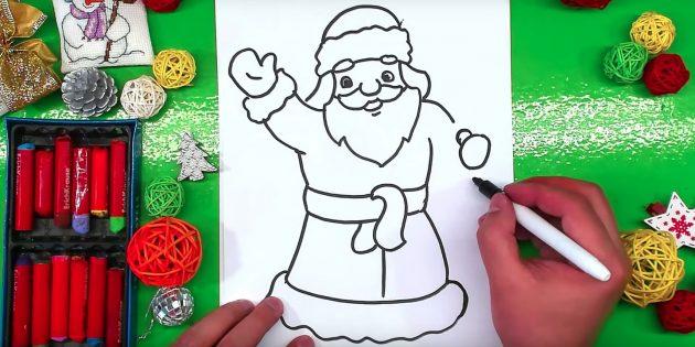 Нарисуйте левую руку и правую варежку