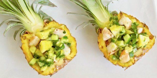 простой рецепт салата с креветками и ананасами