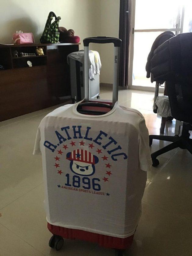 лайфхаки: футболка как чехол для чемодана