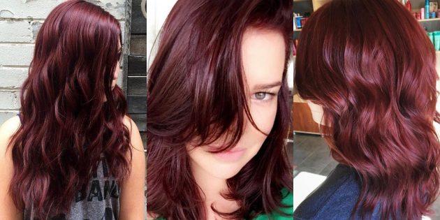 модный цвет волос: красное дерево
