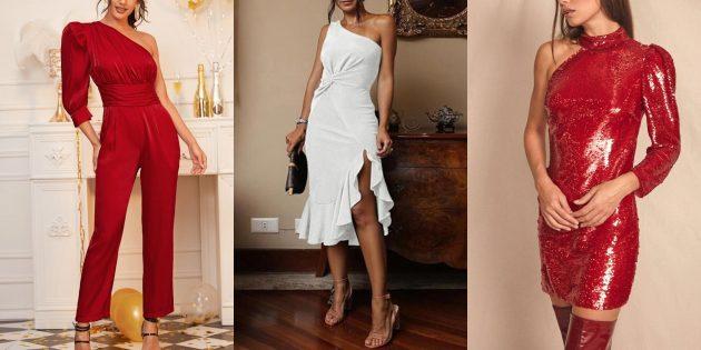в чём встречать новый 2020 год: платья, блузки, комбинезоны на одно плечо
