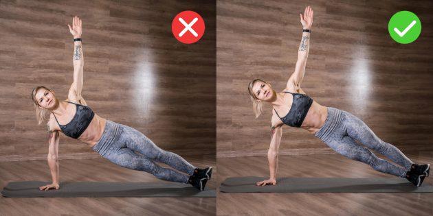Как правильно делать боковую планку: не оседайте на плечо опорной руки
