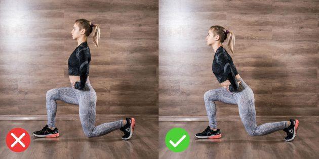Как правильно делать выпады: наклоняйте корпус с прямой спиной.
