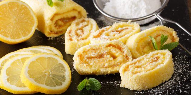 Как приготовить бисквитный рулет с курагой и лимоном