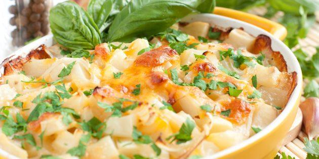 Картошка с сыром, сметаной и орехами