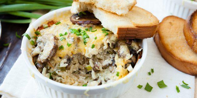 Запеканка из риса с грибами и сыром: простой рецепт