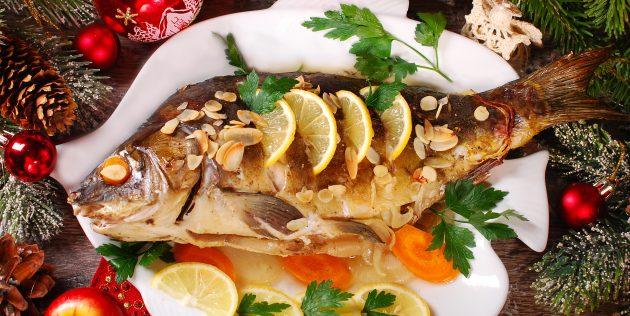 Рецепт рыбы в духовке: фаршированный карп с овощами