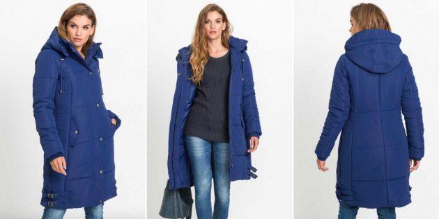 Длинное стёганое пальто из полиэстера