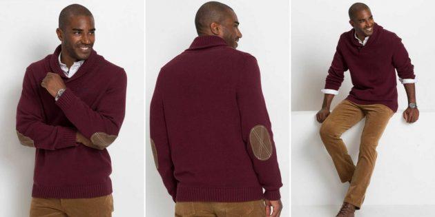 Мужской хлопковый пуловер с шалевым воротником