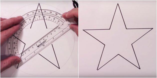 Как нарисовать звезду с помощью транспортира