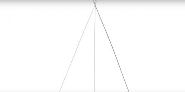 Как нарисовать пятиконечную звезду: добавьте вторую линию под углом