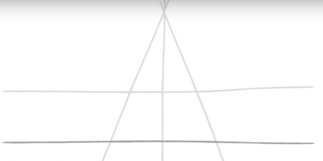 Как нарисовать пятиконечную звезду: изобразите две горизонтальные линии