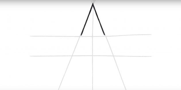 Как нарисовать пятиконечную звезду: обведите угол