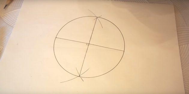 Как нарисовать пятиконечную звезду: нарисуйте окружность