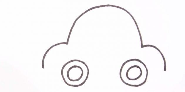 Как нарисовать машину: изобразите колёса