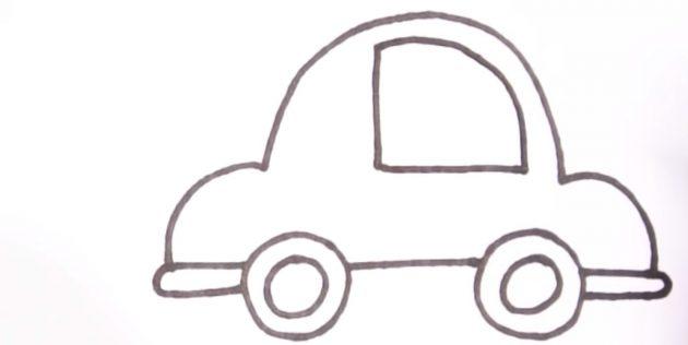 Как нарисовать машину: нарисуйте большое окно