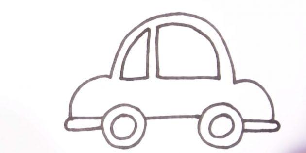 Как нарисовать машину: нарисуйте маленькое окошко