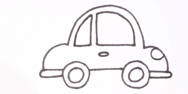 Как нарисовать машину: добавьте ручку и фару