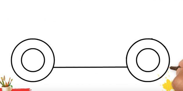 Как нарисовать грузовик: соедините колёса